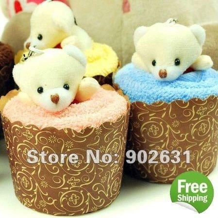 So Cute Bear~Accept Credit Card 5pcs/lot New Customized Cotton Towel Lovely Bear Cupcake Towel Cake(China (Mainland))