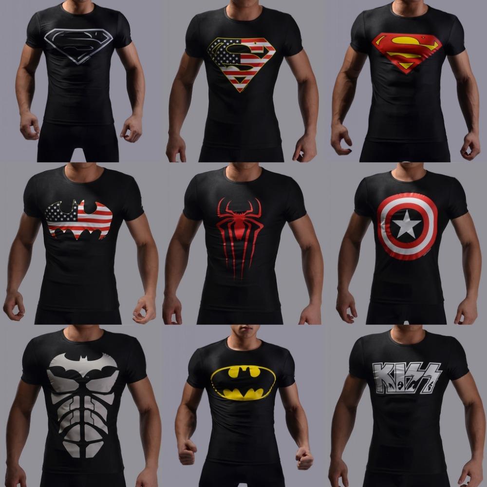 Superman returns 2016 fitness men t shirts short-sleeved popular sport compression t shirt men t-shirt(China (Mainland))