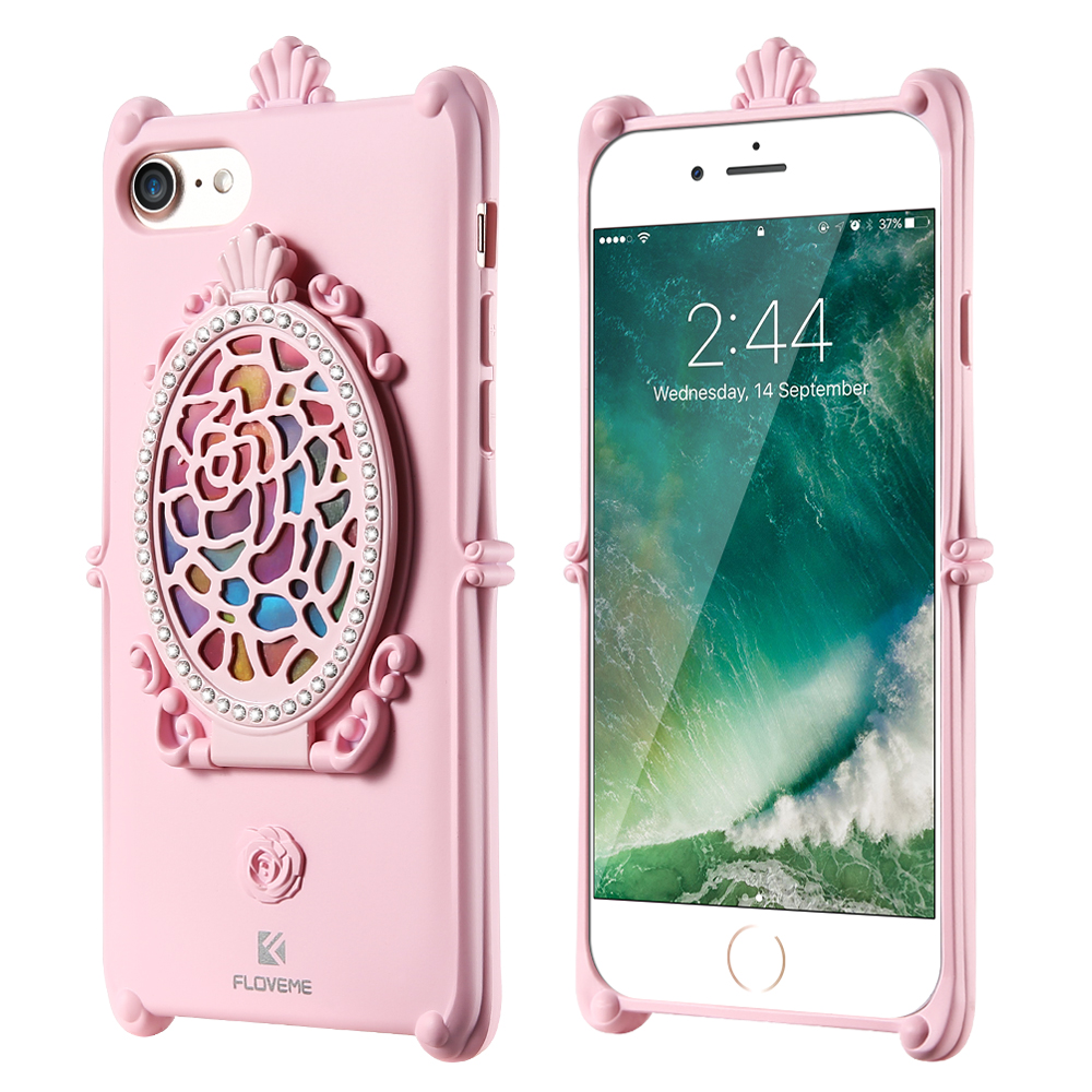 Luxury Rhinestone 3D Phone Cases Cover For Iphone 6 6S Plus Glitter Silicone Case Mirror Kickstand Back Cover For Iphone 6S Plus(China (Mainland))