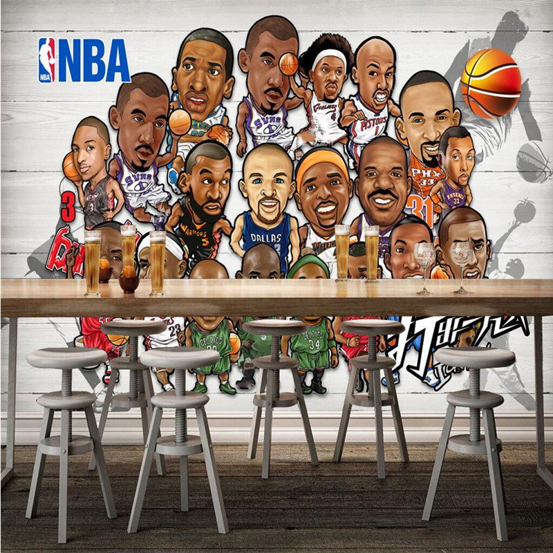Wallpaper 3d cartoon sports stars basketball stadium for Basketball mural wallpaper