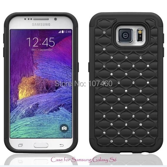100pcs/lot Luxury Rhinestone Chrome Billing Diamond Cell Phone Protective Hard Hybrid Case For Samsung Galaxy S6 Cover Skin(China (Mainland))