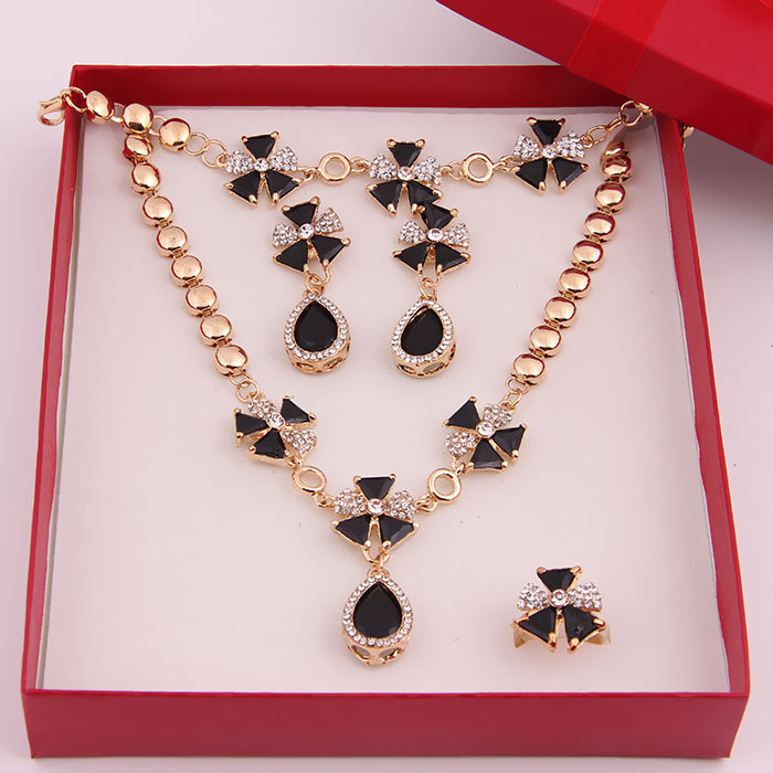 Elegant Red Black Blue Zircon Beads African Costume Necklace Sets Fashion18k Gold Plated Crystal Wedding Bridal Jewelry - BTO Co., Ltd. store