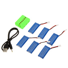 Super Fly Sets X6 Charger with 3.7V 500mAh Lipo Battery for Hubsan X4 H107 H107L H107C H107P H107D RC Quadcopter 6Pcs
