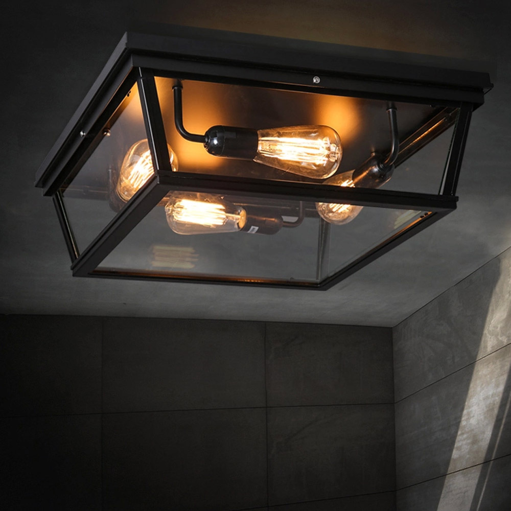 Loft Square Outdoor Ceiling Lights Industrial Iron Art ...