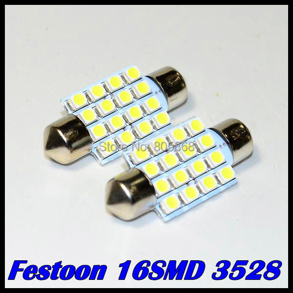 10pcs/lot Led Interior Dome Festoon Reading Light 16 SMD LED Bulb Light 16SMD 36mm 39mm 42mm 31mm 3528 White 12V(China (Mainland))