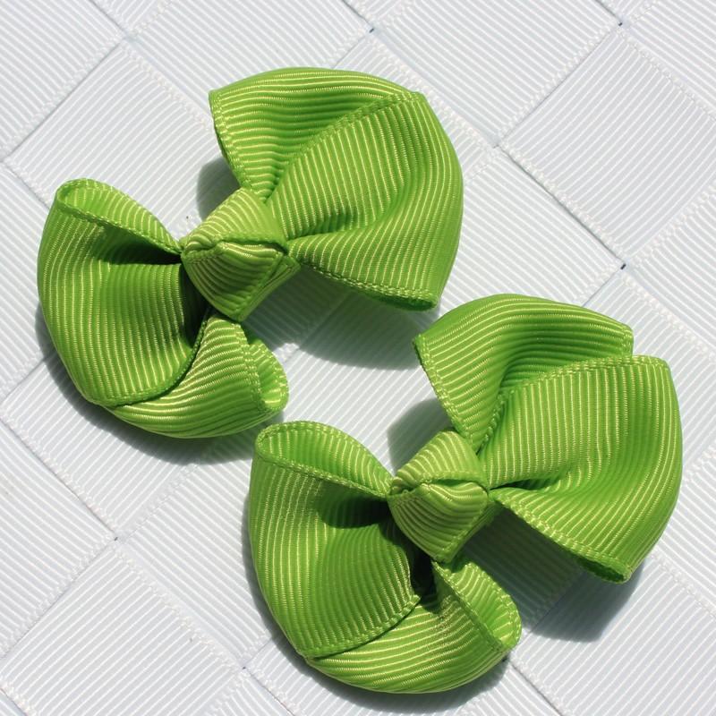 2pcs 2 INCH fashion kids baby girl solid hair clip ribbon bow flower barrettes children hair accessory hairpin hairgrip headwear
