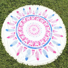 Start Your Vacation! Round Beach Towel With Tassels Boheme Style Microfiber 150CM ronde serviette de plage(China (Mainland))