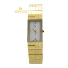 Ganador del oro estrenar moda elegante ocasional de la muchacha mujer reloj del cuarzo del diamante impermeable de acero inoxidable relojes GW180022