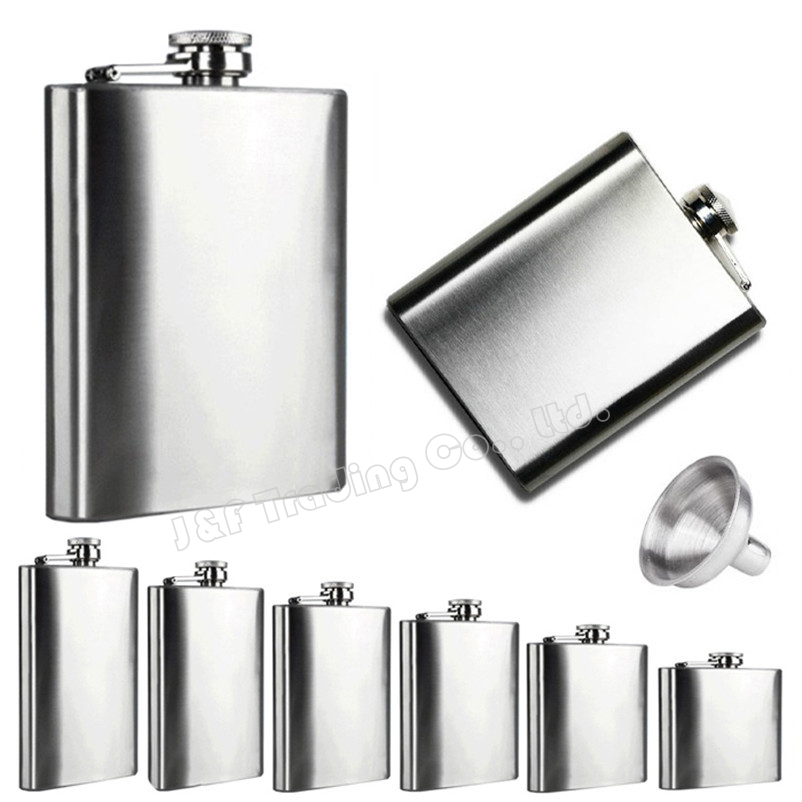 6 Sizes Stainless Steel Pocket Hip Flasks Alcohol Whiskey Liquor Flasks Drink Bottle with Screw Cap Free Funnel 4 5 6 7 8 10 oz(China (Mainland))
