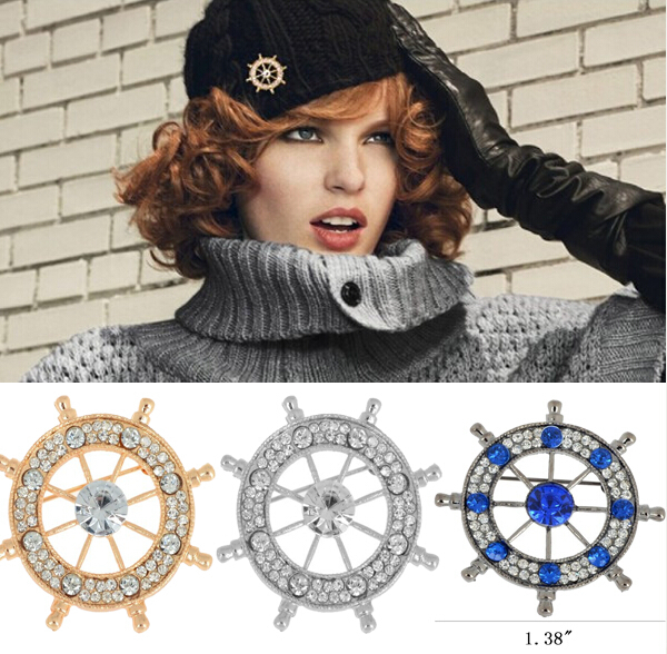 1PC Fashion Clear Blue Crystal Navy Anchor Rudder Wedding Prom Badge Brooch Hat Pin For Dresses Women Men Jewelry Free(China (Mainland))