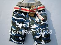 retail Children's casual shorts Baby Boy shorts with belt Camouflage pants
