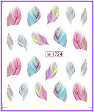1X  Nail Sticker Plume Feather Pinna Water Transfers Stickers Nail Decals Stickers Water Decal Opp Sleeve Packing #1724(China (Mainland))