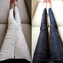 2016 New Sexy Women Slim Embroidered Lace Stretch Leggings Pencil Pants Skinny Jeans female Fashion Capris Trousers Black S-3XL(China (Mainland))