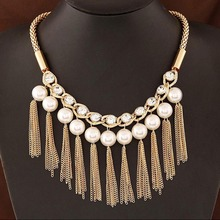 Simulated Pearl Link Chain Tassel  Statement Necklace Women Rhinestone Necklaces & Pendants Jewelry Collar For Gift Party(China (Mainland))