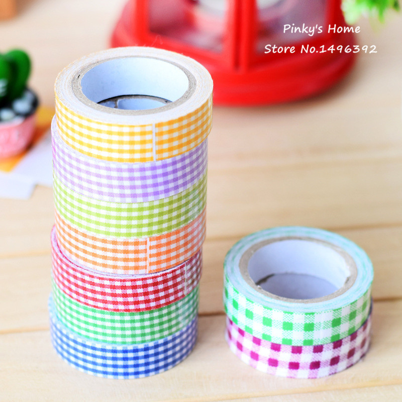 5pcs/lot Vintage Fabric Tape Pastoral Plaid Cloth Tape DIY Scrapbooking Decorative Sticky Box Packed Adhesive Masking Tape(China (Mainland))