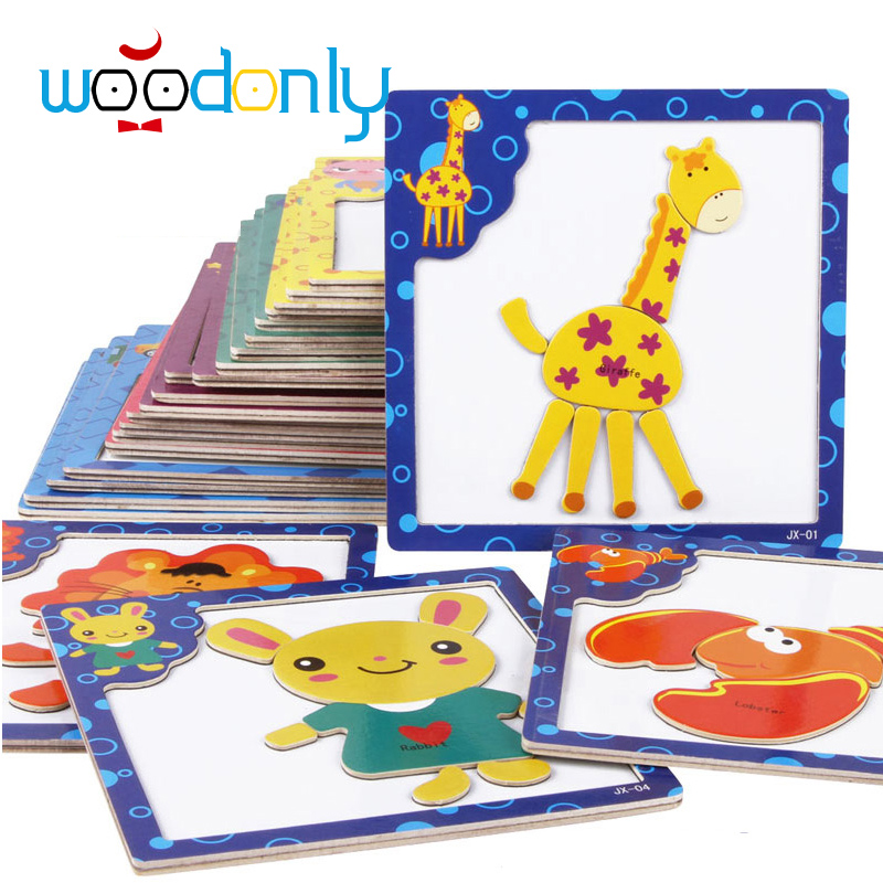 Wooden Toys for Children 3D Magnetic Puzzles Tiger/Bear/Frog Cartoon Animals Puzzles kids toys Tangram Child Educational Gift(China (Mainland))