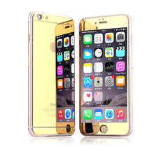 2 pieces/lot front and back Premium Mirror Electroplating Tempered Glass Screen Protector For iPhone 6 6plus 5 5s 4 4s(China (Mainland))