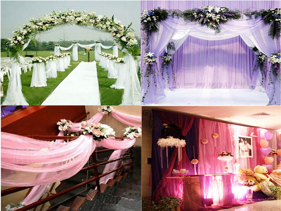 Sheer Organza Roll Wedding Chair Sash Bow Table Runner Swag Decor(China (Mainland))