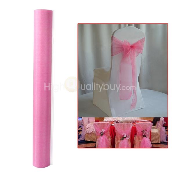 47cm X 4 2m Sheer Fabric Tulle Spool Roll Organza Craft Wedding Party Decor Pink