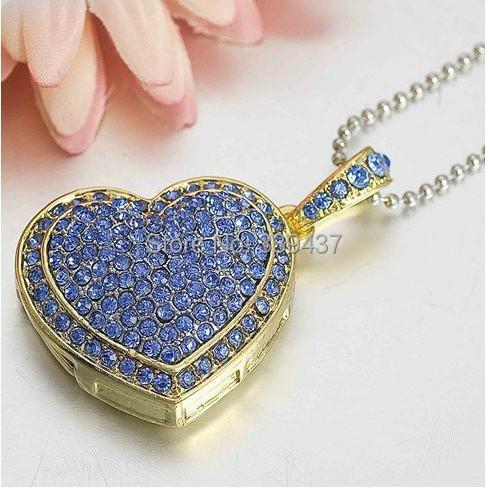 Real capacity pendrive necklace USB thumb pretty crystal heart USB stick 4GB/8GB/16GB/32GB birthday gift flash drive(China (Mainland))
