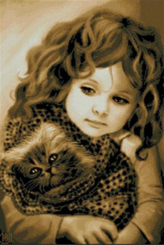 2015 Hot Sale Diamond Embroidery Cross stitch Needlework Diy Diamond Painting Rhinestone Pasted Square Drill Full girl and cat(China (Mainland))