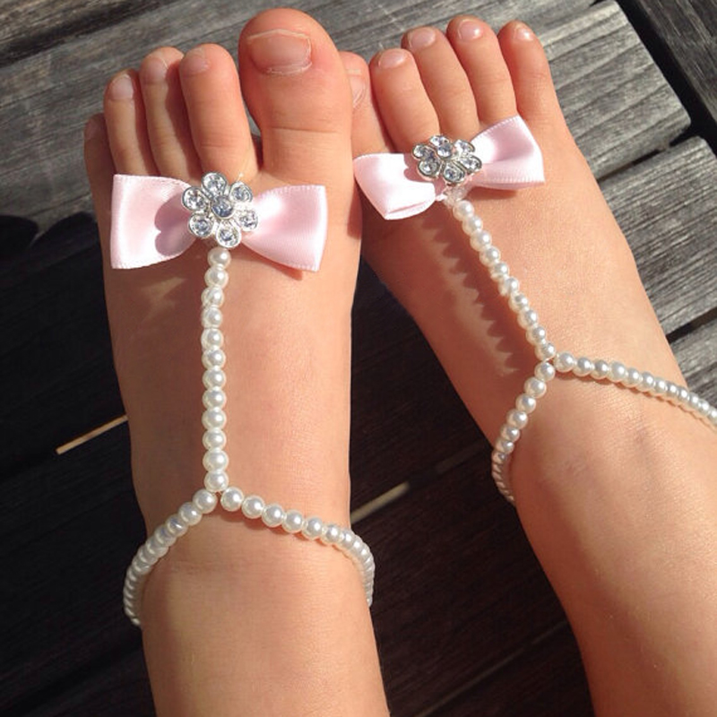 Fashion Newborn Baby Girls Flower Sandals Pearl Flower Foot Band Toe Rings First Walker Barefoot Sandals Anklets Kids Accessorie(China (Mainland))
