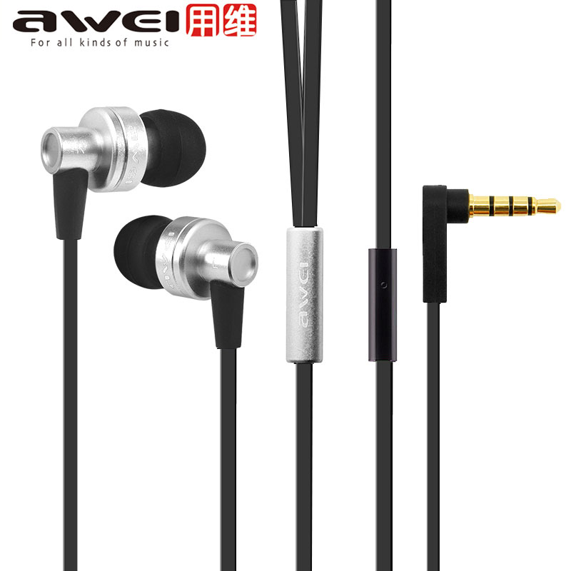 AWEI ES 900i ES900I Super Bass Headphone steel series In ear Earphone With Mic as Phone