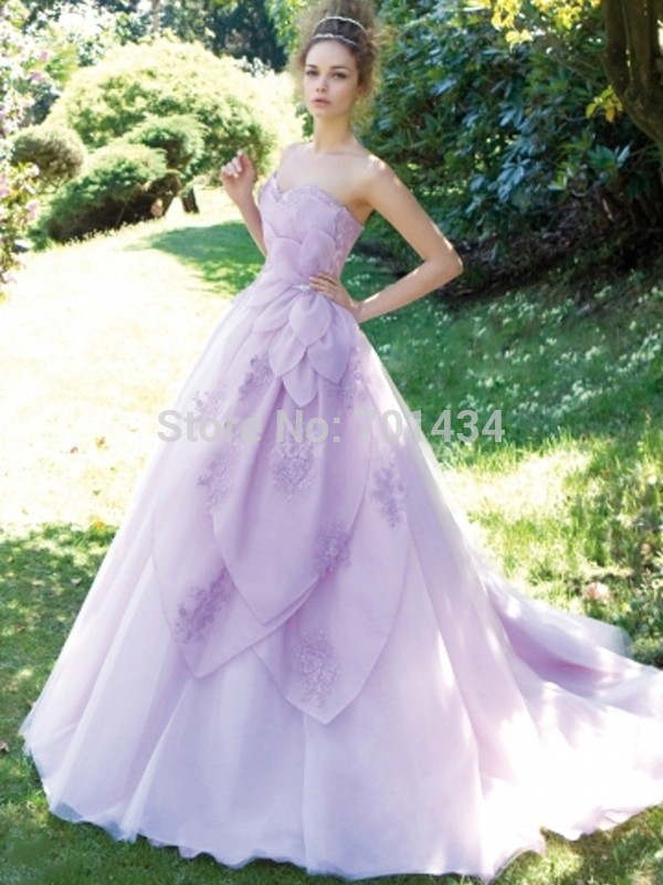 High quality a line sweetheart lavender wedding dress for White wedding dress with lavender
