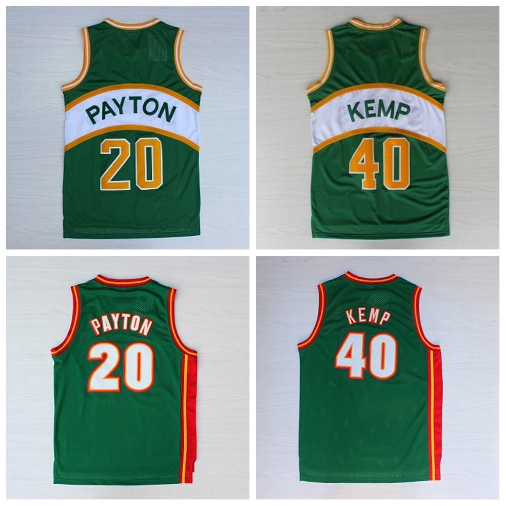 #20 Gary Payton #40 Shawn Kemp Stitched Green Sonics Jersey, Seattle SuperSonics Throwback good Jersey(China (Mainland))