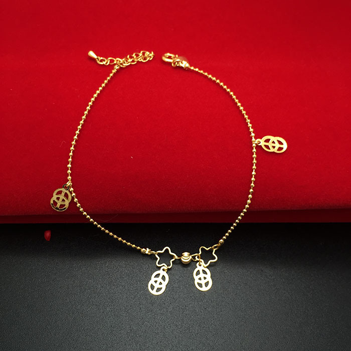 Beautiful Stars Design With Ball Chain Ankle Chain Wholesale Fashion Anklets Jewelry Plating 24K Gold Anklets For Women J001(China (Mainland))