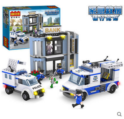 COGO 13915 Police Series Rob the Bank Police Car Helicopter 570pcs Building Block Sets Educational DIY Bricks Toys(China (Mainland))