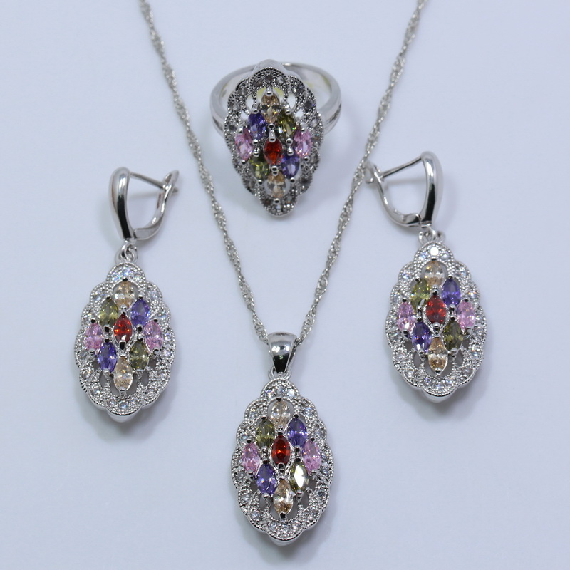flawless rainbow topaz 925 sterling silver jewelry set for