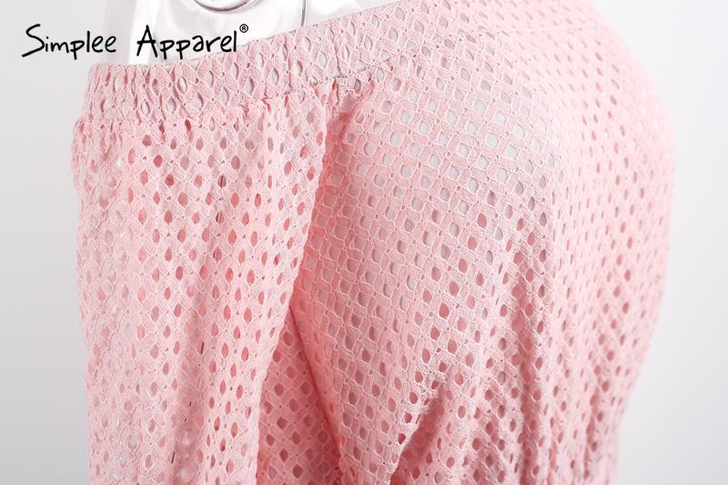 Simplee Одежда сексуальная с плеча кружева женщины комбинезон ползунки Лето стиль длинные рукава розовые комбинезоны выдалбливают комбинезон купальник