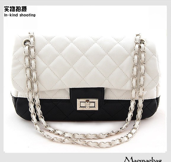 2015 black and white with a shoulder bag women bag handbag chain Crossbody handbag shoulder bag bag(China (Mainland))