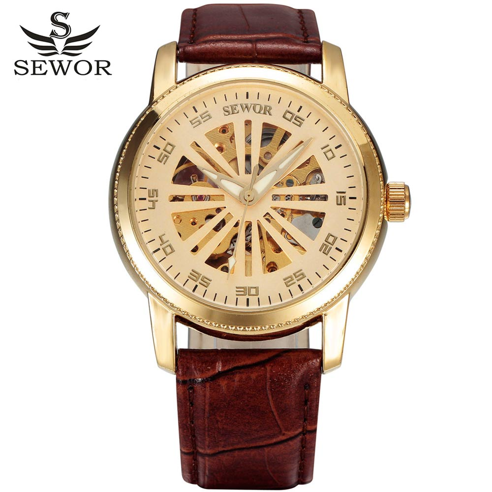 2016 SEWOR BRAND design skeleton man fashion hollow sport clock automatic mechanical military leather new wrist classic watch(China (Mainland))