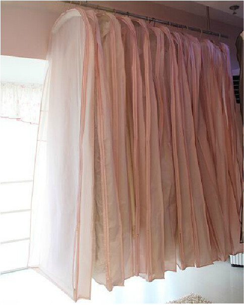 Free Shipping Clothes Cover In Stock Wedding Evening Dress Dust Cover Bridal Garment Storage Bag Space Saver 1003(China (Mainland))
