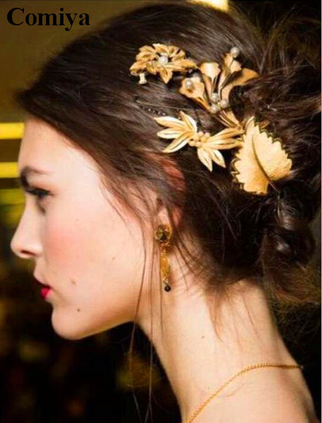 New European and American style bridal hair accessories Baroque simulated pearl leaves flowers hairpin gold wedding hair pins(China (Mainland))