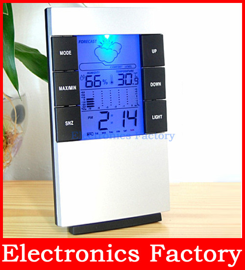 LCD LED Light Digital Indoor Sensors Thermometer Temperature Hygrometer Humidity C/f clock Time Alarm Calendar Backlit Meter(China (Mainland))