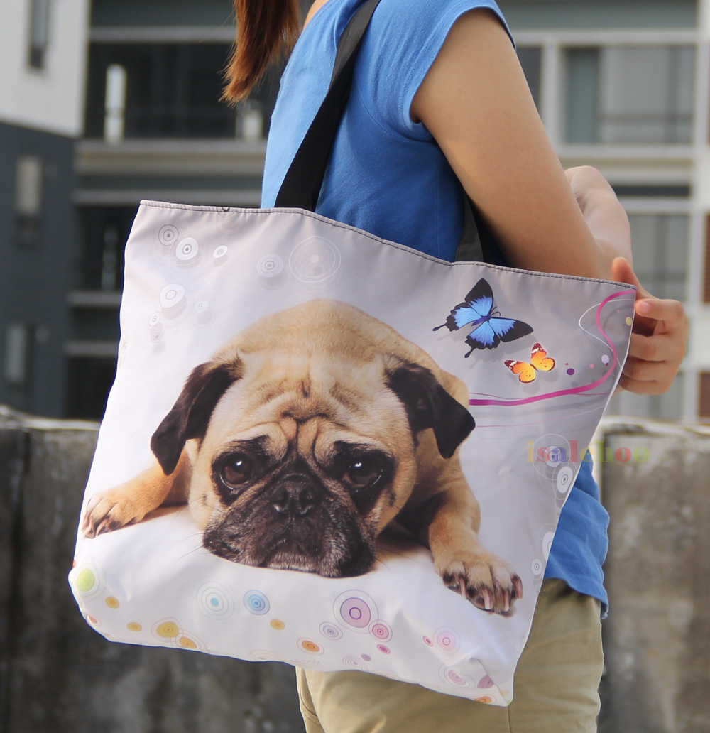 Cute Pug Soft Foldable Tote Women's Shopping Bag Shoulder Lady Handbag Pouch,light weight,washable - Perfect Laptop bags store