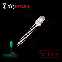 50 Pcs 5mm Dia Frosted Round Head 4 Pins RGB Light LED Diodes(China (Mainland))