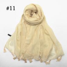 Женский хиджаб с кисточками, шаль, Простой макси шарф, модный кулон, шали, женские мусульманские хиджабы, шарфы, мягкий платок, 1 шт., 31 цвет(China)
