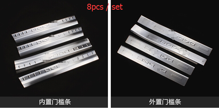 Фотография stainless steel Inside & Outside Door Sill Scuff Plate 8pcs / set For Dodge Journey 2013 2014