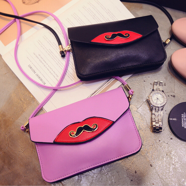2015 New Fashion Women Messenger Bags PU Leather Clutch Hand Painted Handbags Moustache Painted Bolsa Feminina Free Shipping(China (Mainland))