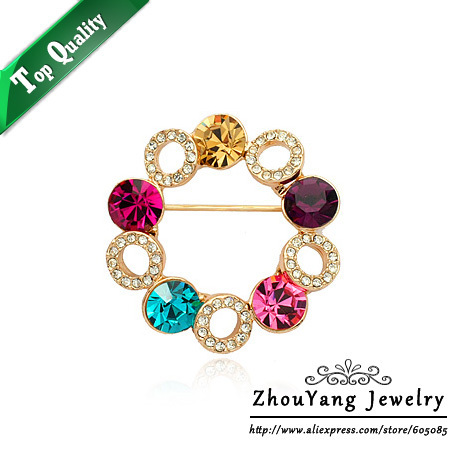 ZYX007 18K Gold Plated Elegant Colorful Sky Wheel Brooches Jewelry Austrian Crystal  Wholesale