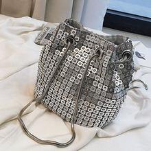 SEKUSA/женские клатчи, расшитые блестками, бриллианты, сумки через плечо на цепочке, серебристые, черные, золотые, мягкие вечерние сумки(China)