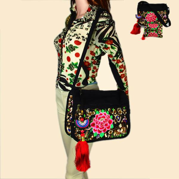 2 pcs set of Vintage Hmong Tribal Ethnic Thai Indian Boho shoulder bag messenger embroidery, pom pom trim SYS-391<br><br>Aliexpress