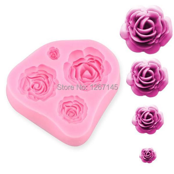 Silicone 4Size Rose Flower Cake Mold Craft Fondant Chocolate DIY Craft Decorating d2qp(China (Mainland))