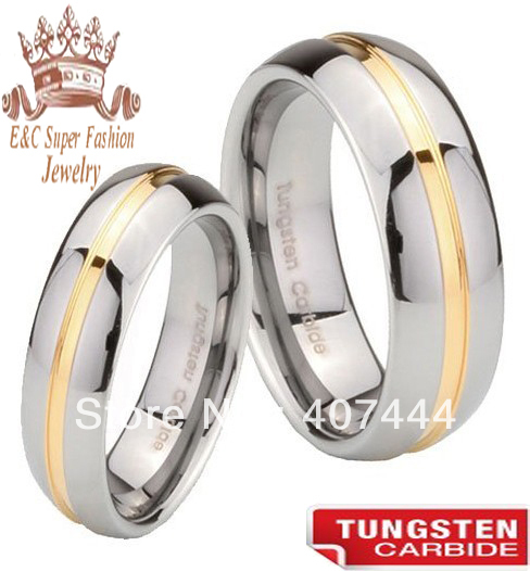 E&amp;C Tungsten Jewelry 2 Pieces 18K Gold Plating Center Grooved Tungsten Carbide Wedding Ring With Free Shipping<br><br>Aliexpress