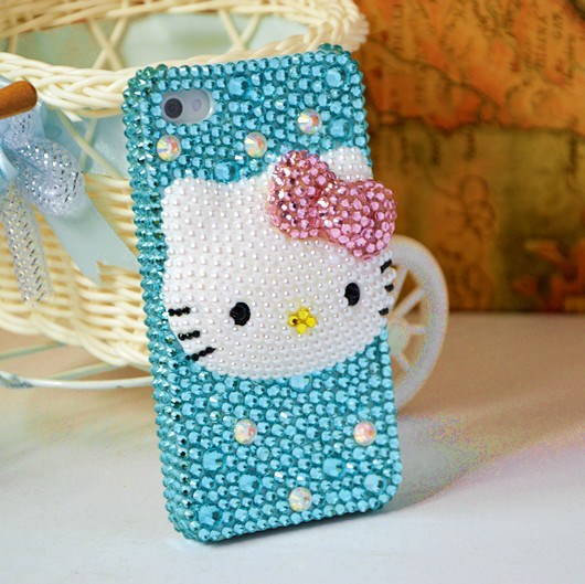 New Handmade Cute Hello Kitty Phone Protect Back Cover Gift Bling Rhinestone Cell Phone Case For Samsung Galaxy Note 2(China (Mainland))