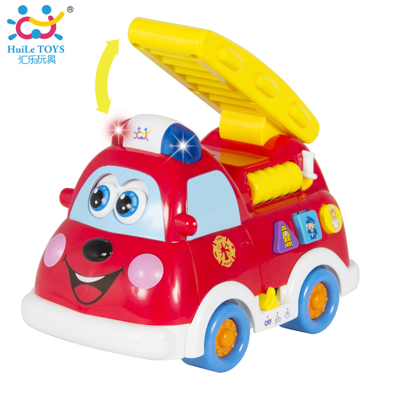 Free Shipping Baby Toy Truck Fire Truck Car With Music + Light Boy Toy Spanish & English Language Learning Educational Toy Gifts(China (Mainland))